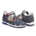 Picture of Memo Palermo 1LA Black Orange Boy Youth Orthopedic Velcro Sandal