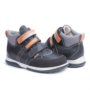 Picture of Memo Polo 3LA Black Orange Girl & Boy Youth Orthopedic Velcro Sneaker