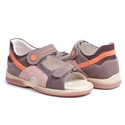 Picture of Memo Szafir 1BE Beige-Orange Nubuck Toddler Girl & Boy Orthopedic Velcro Sandal