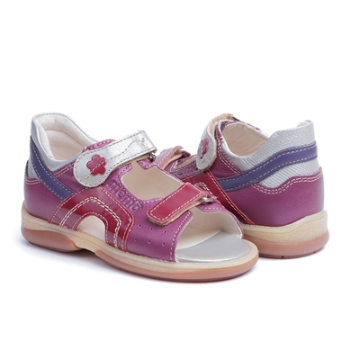 Picture of Memo Szafir 3JE Pink-Silver Toddler Girl Orthopedic Velcro Sandal