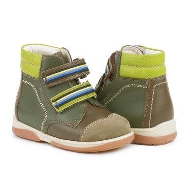 Picture of Memo Karat 3BE Brown-Green Toddler Girl & Boy Orthopedic Velcro Boot