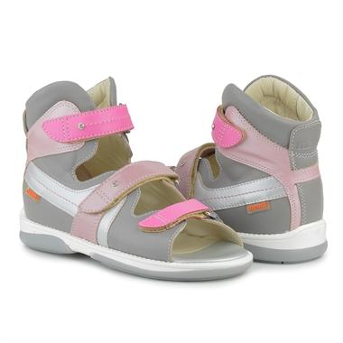 Picture of Memo Iris 3JD Gray-Pink Girl Youth Orthopedic Velcro Sandal