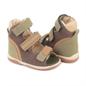 Picture of Memo Virtus 3BE Brown-Green Nubuk Toddler Boy Orthopedic Velcro Sandal
