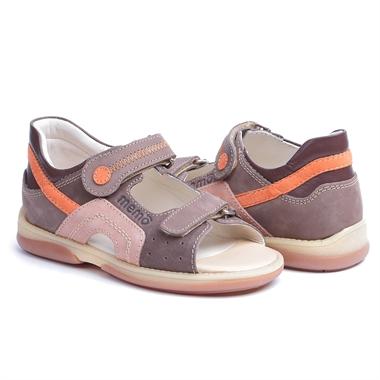 Picture of Memo Szafir 1BE Beige-Orange Nubuck Toddler Girl & Boy Orthopedic Velcro Sandal