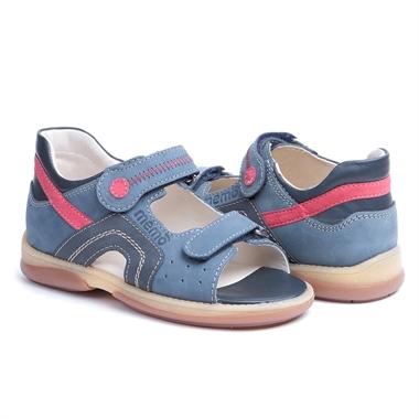 Picture of Memo  Szafir 1HA Navy Blue Nubuck Toddler Boy Orthopedic Velcro Sandal