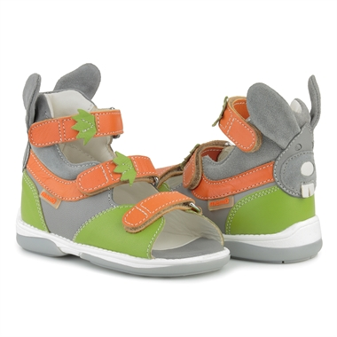 Picture of Memo Bunny 3EA Green-Orange Toddler Girl & Boy Orthopedic Velcro Sandal
