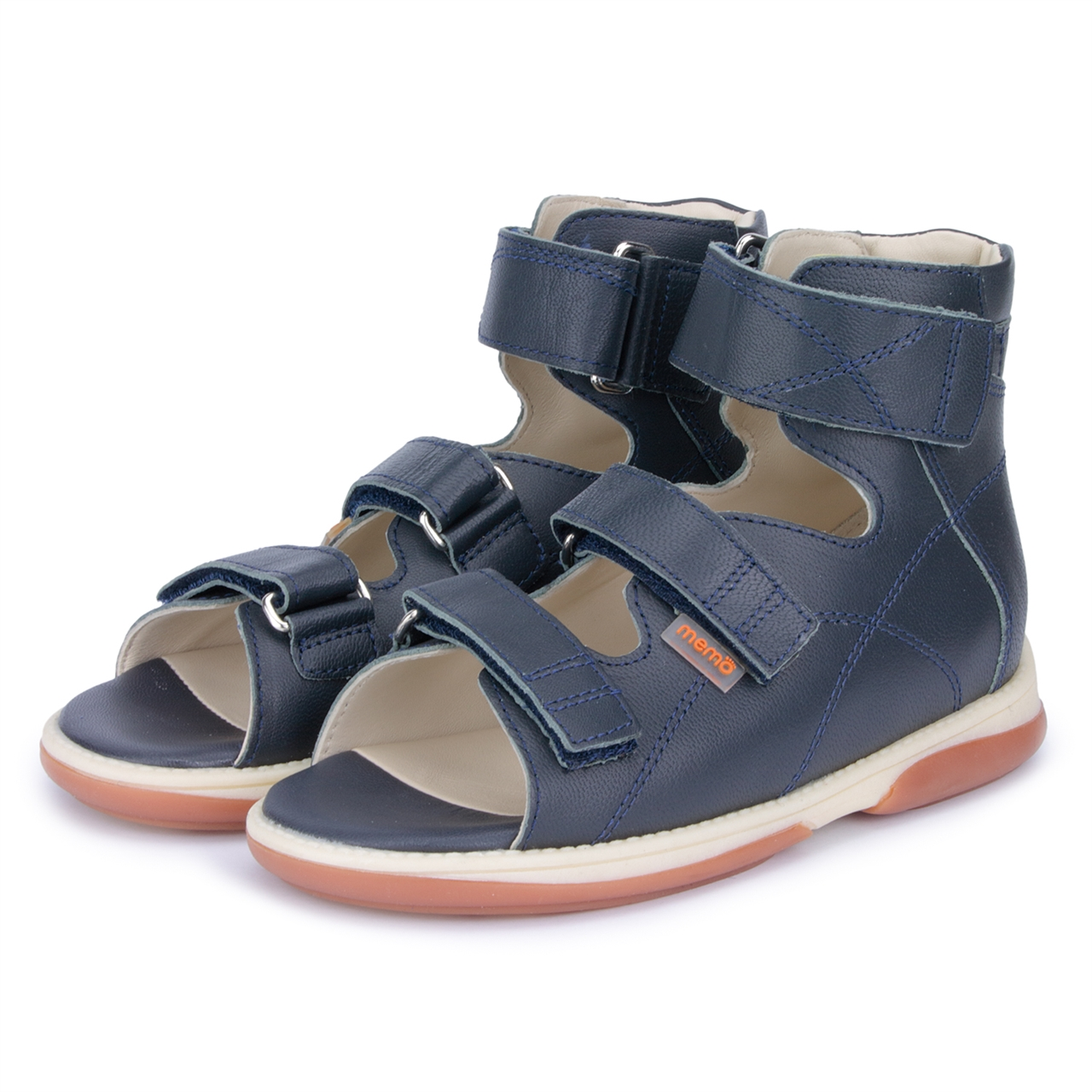 0b8b8ad2c ... Picture of Memo Helios 3DA Navy Blue Boy Youth Orthopedic Velcro Sandal  ...