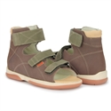 Picture of Memo Helios 1BE Brown-Green Girl & Boy Youth Orthopedic Velcro Sandal